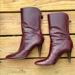 7.5 Cole Haan Croc Boots Heels Burgundy Zipper